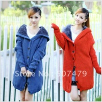 2014 Autumn and Winter Women Silver Needle Medium-long Cardigan Ladies Fashion Plus Velvet Thickening Sweater Outerwear