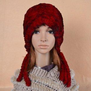 Winter Fashion Natural Rex Rabbit Fur Hat Women Fur Casual Knitted Ear Protector Cap Female Headgear VK0223