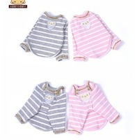 Clearance Cute Dog Clothes,Pet Clothes,With Color button Fish neckline Pet apparels,Autumn&Winter Pink white stripe&lyard