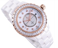 New arrival ik LUXURY women's quartz ceramic watch ladies wrist watch fashion watch rhinestone rose gold women gift hand watch