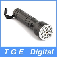 Free Shipping! FX 15+1 Mid-button Switch Flashlight Torch 15 LED+1 Red Laser 3XAAA Black
