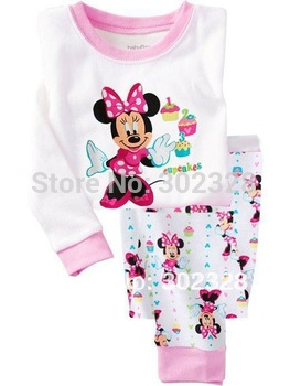 2013 New Baby Girls Minnie Mouse Clothes Suit Autumn pyjamas Kids Long Sleeves pajamas Clothing Sets  Free Shipping