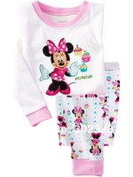 2014 New Baby Girls Minnie Mouse pajamas Clothes Suit Autumn pyjamas Kids Long Sleeves 2pcs Clothing Sets For girls Night suit