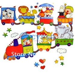 Self Adhesive Cartoon Train Wall Stickers, Decorative DIY Paper Sticker For Home/Kids Rooms Free Shipping(China (Mainland))