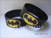 "BATMAN Wristband, 1"" Wide Band, Silicon Bracelet, Black colour, Adult, 50pcs/Lot, Free Shipping"