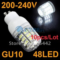 Free Shipping 10pcs/Lot New GU10 SMD3528 48 LED Light Bulb Lamp White 200-240V 4404