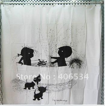 Free shipping black and white children bathing Figure Design Bathroom Fabric Waterproof Shower Curtain( Designed by Switzerland)