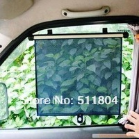 Car Roller Blind, Black Mesh Side Sunshade Gauze Sun-shading Insulated Curtain Automatic Retractable Shutter (4 pcs / Lot)