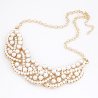 Fashion big pearl collar necklace /short necklace with big pears ,gold plating ,free shipping