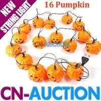 FS! 16 LEDs Pumpkin LED String Light Halloween Props Haunted House Supplies Bar Decoration Fairy lights Festival Lamp (CN-LSL27)
