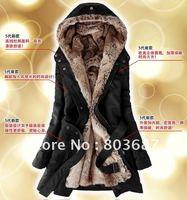 Drop Shipping Faux Fur Lining Women's Black Fur Coats Winter Warm Long Coat Free Shipping