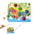 New Colorful Wooden Puzzle Beetles Bugs Board Magnetic Fishing Game Toy, Baby Educational Game Toy 6227(China (Mainland))