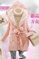 3t1 xg 2014 winter slim medium-long sweater outerwear thickening cashmere yarn cardigan women's  dress celebrity dresses
