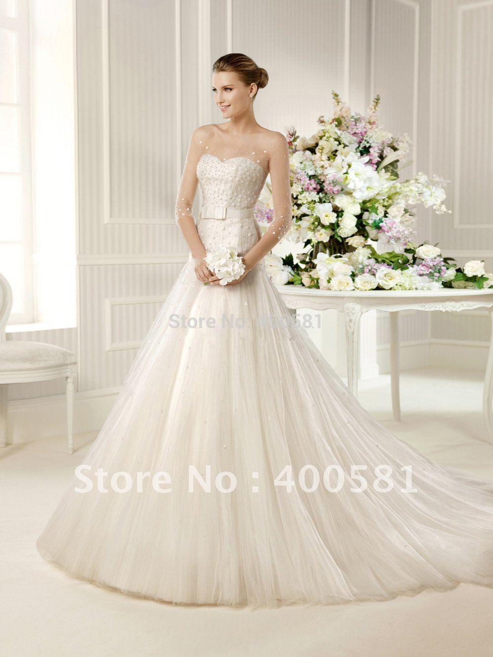 Displaying 16> Images For - Sheer Sleeve Wedding Dress...