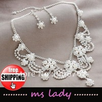 Crystal Bridal Necklace and earrings Jewelry Set 5 sets/lot Free Shipping HK Airmail