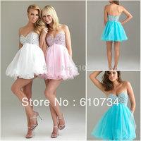 SP0003 Beaded Sweetheart Neckline Organza Short Hot Pink Prom Dress