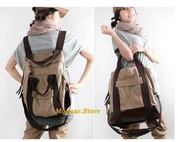 free shipping, HOT,two-use Canvas  shoulder bag & packbag  B041 Kahiki