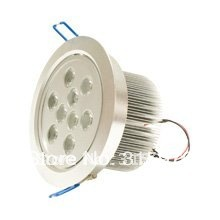 9W LED Down Light Free Shipping AC110V 220V Silver color Aluminum For Home Display case Office(Hong Kong)
