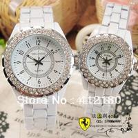 Hot!  Fashionable women and men watch' Diamond watch circle' Lover's watch' Black&white