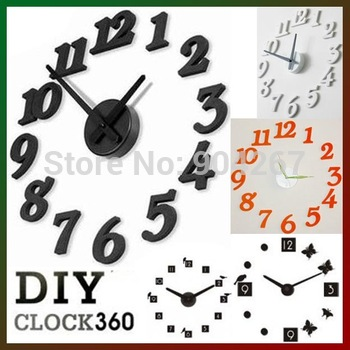Free shipping 2014 new arrival Creative Butterfly Silent Resin Wall Clock,DIY clock Christmas decoration 1pcs