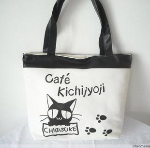 Large spring black cat  canvas shoulder bag
