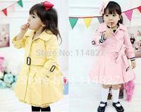 Hot sale! autumn/ spring New style baby girl's long uniform coat /jacket outerwear  , 5pcs/lot