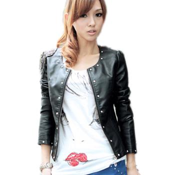 2014 new fashion spring casual leather jacket O-Necks zipper punk rivet autumn winter women motorcycle biker jacket M,L #3215