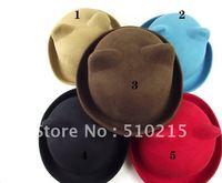 Wholesale Ladies 100% Wool Fedora Hat / Solid Color Round Top Jazz Cap wool felt hat