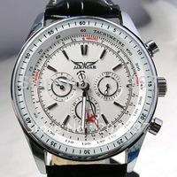 Jaragar big classic brand luxury men leather diver mechanical white dial swiss mens wrist watches