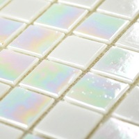 Crystal glass tile mirror white lights square iridescent mosaic wholesale bathroom tiles puzzle background wall decorative items