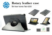 "new Premium 360 Degree Rotating Leather Case Cover For Acer Iconia A200 10.1"" Tablet Black"