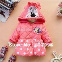 Free shipping  Winter Hot Sale children coat,kids coat,girl cartoon dot winter coat 4pcs/lot wholesale
