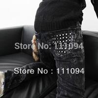 Alibaba express fashion 2014 new style long Dark gray water wash rivet skinny pants size 28-34