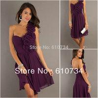 SP0040 One Shoulder Cheap Purple Long Cheap Chiffon Prom Dresses