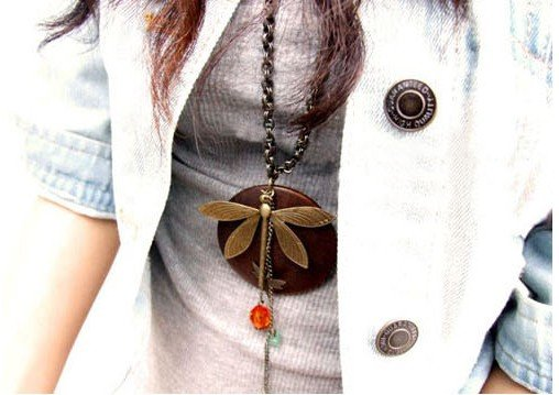 Hot Selling Fashion Wood Dragonfly Pendant Long Necklaces N159(China (Mainland))