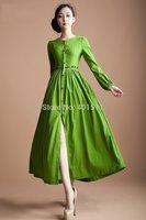 D123 2014 new high quality women's Bright Green Custom made  long linen dress maxi dress