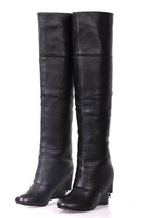 free shipping Womens ladies fashion best real leather black color wedge heel zipper over knee boot,lady boot,mi