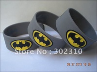 "Batman Writband, Silicon Bracelet, 1"" Wide Band, Grey Colour, 50pcs/lot, Free Shipping"