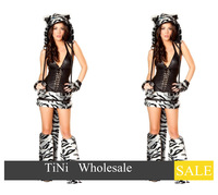 Sexy Cheshire Cat Woman Tiger Halloween Costume Top Skirt Leg Warmers Tail& Hood
