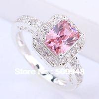 Women Silver Ring 6X8Mm Oblong Pink Cubic Zirconia J7443 Yin Rings Size 6