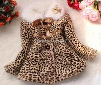Hpt sale! New Fashion style baby girl leopard grain imitation fur cotton-padded clothes coat ,4 pcs/lot