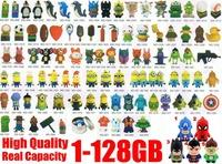 100cps/lot Mixed batch Cartoon PVC USB Flash Drive 2GB 4GB 8GB 16GB usb flash disk  Thumb key car pen drive stick