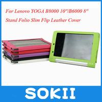 Stand Folio Slim Flip High Quality Leather Case Cover For Lenovo YOGA B8000 10inch 10''/Lenovo YOGA B6000 8inch 8'' cover