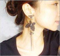Fashion Hot Selling New Style 3Tier Big Butterfly Long Dangle Earrings E15