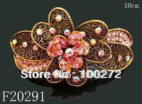 Wholesale woman Vintage hair Jewelry flower crystal rhinestone alloy hair clip hair ornament  Free shipping 12pcs/lot  F20291