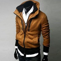 Factory Price ! Free shipping .Casual trend styling Men's Slim Sexy Hoody Jacket sweatshirt High collar coat men's jackets