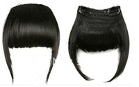 free shipping 2012 New Fashion Clip in on Bang Fringe remy Human Hair Extensions  off black #1B natural color