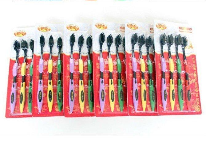 wholesale retail drop Korea nano bamboo Anion Charcoal health dual adult toothbrush high quality 4pcs/pack free shipping(China (Mainland))