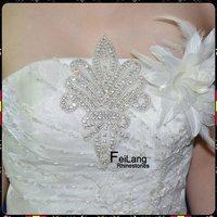 11.2cm*17.5cm Flower Applique High Quality Shiny Stones Sew on Crystal Rhinestones Applique