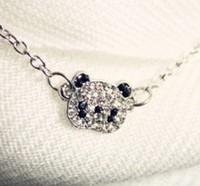 Free Shipping  Fashion Cute Rhinestone Big Eye Panda Necklace,Short Necklace,Animal Necklace  WN4205